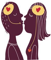 Par som kysser. Grafikk.