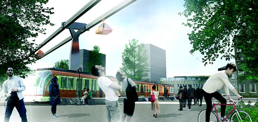 Illustrasjon som viser byen i framtida, hvor folk speider opp mot en moderne gondolbane.